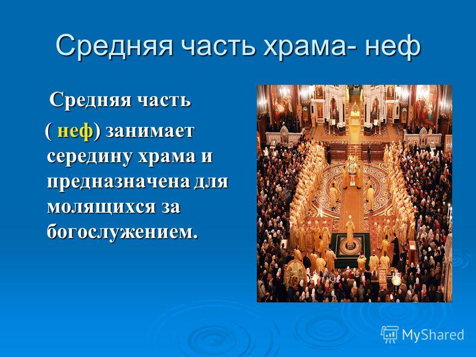 Средняя часть храма- неф Средняя часть Средняя часть ( неф) занимает середину храма и предназначена для молящихся за богослужением. ( неф) занимает середину храма и предназначена для молящихся за богослужением.
