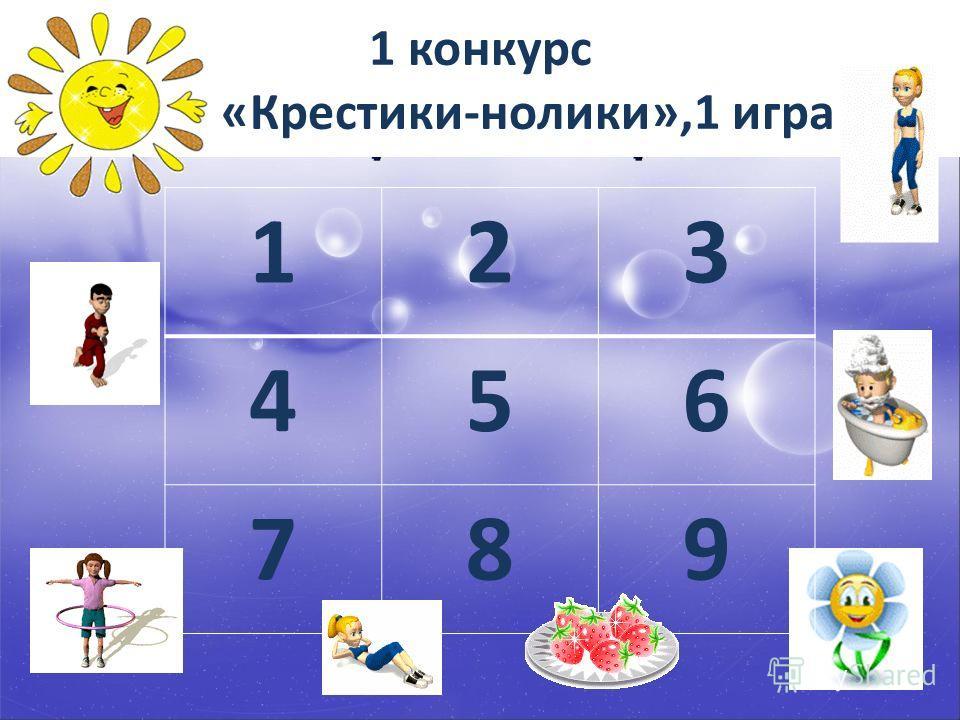 1 конкурс «Крестики-нолики»,1 игра 123 456 789