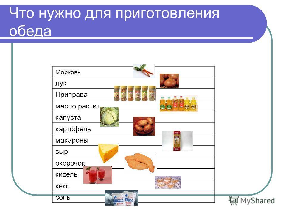 Что нужно для приготовления обеда Морковь лук Приправа масло растит капуста картофель макароны сыр окорочок кисель кекс соль