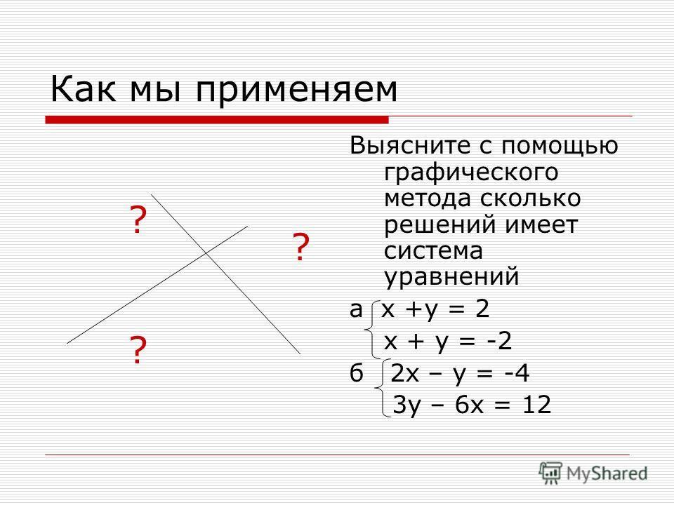 Как мы применяем ? Выясните с помощью графического метода сколько решений имеет система уравнений а х +у = 2 х + у = -2 б 2х – у = -4 3у – 6х = 12 ?