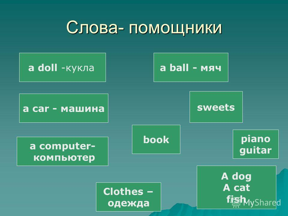 Слова- помощники a doll -кукла a car - машина a computer- компьютер a ball - мяч sweets book Clothes – одежда piano guitar A dog A cat fish