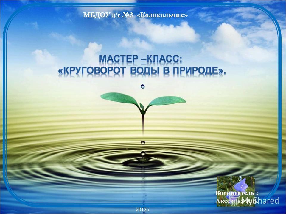 МБДОУ д/с 3 «Колокольчик» 2013 г. Воспитатель : Аксёнова Е.В.