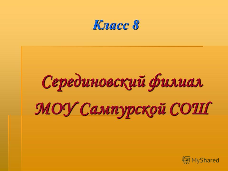 Класс 8 Серединовский филиал МОУ Сампурской СОШ