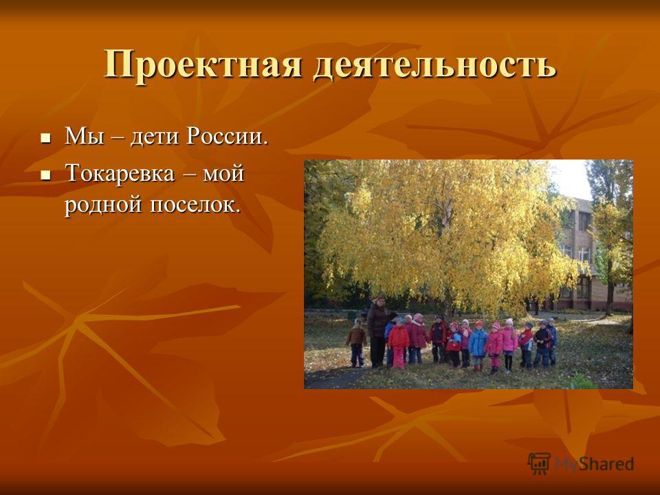 Проектная деятельность Мы – дети России. Мы – дети России. Токаревка – мой родной поселок. Токаревка – мой родной поселок.