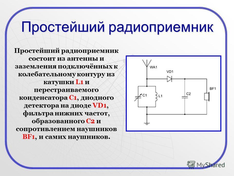 Простейший радиоприемник состоит из антенны и заземления подключённых к колебательному контуру из катушки L1 и перестраиваемого конденсатора C1, диодного детектора на диоде VD1, фильтра нижних частот, образованного C2 и сопротивлением наушников BF1,