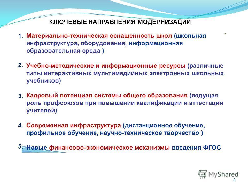 КЛЮЧЕВЫЕ НАПРАВЛЕНИЯ МОДЕРНИЗАЦИИ 1. 3. 2. 4. 5. 8