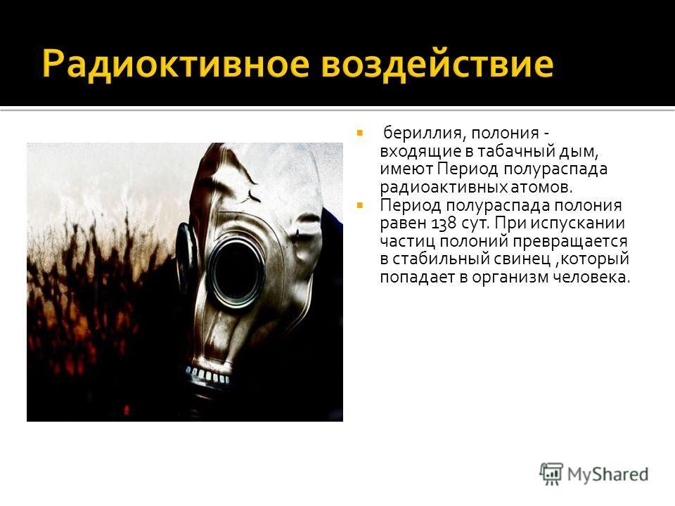 бериллия, полония - входящие в табачный дым, имеют Период полураспада радиоактивных атомов. Период полураспада полония равен 138 сут. При испускании частиц полоний превращается в стабильный свинец,который попадает в организм человека.