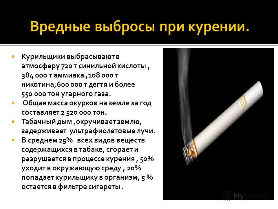 Курильщики выбрасывают в атмосферу 720 т синильной кислоты, 384 000 т аммиака,108 000 т никотина,600 000 т дегтя и более 550 000 тон угарного газа. Общая масса окурков на земле за год составляет 2 520 000 тон. Табачный дым,окручивает землю, задержива