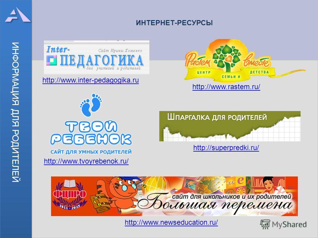 ИНФОРМАЦИЯ ДЛЯ РОДИТЕЛЕЙ ИНТЕРНЕТ-РЕСУРСЫ http://www.inter-pedagogika.ru http://www.rastem.ru/ http://www.tvoyrebenok.ru/ http://superpredki.ru/ http://www.newseducation.ru/