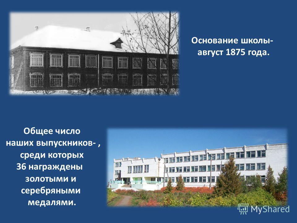Основание школы- август 1875 года. Общее число наших выпускников-, среди которых 36 награждены золотыми и серебряными медалями.