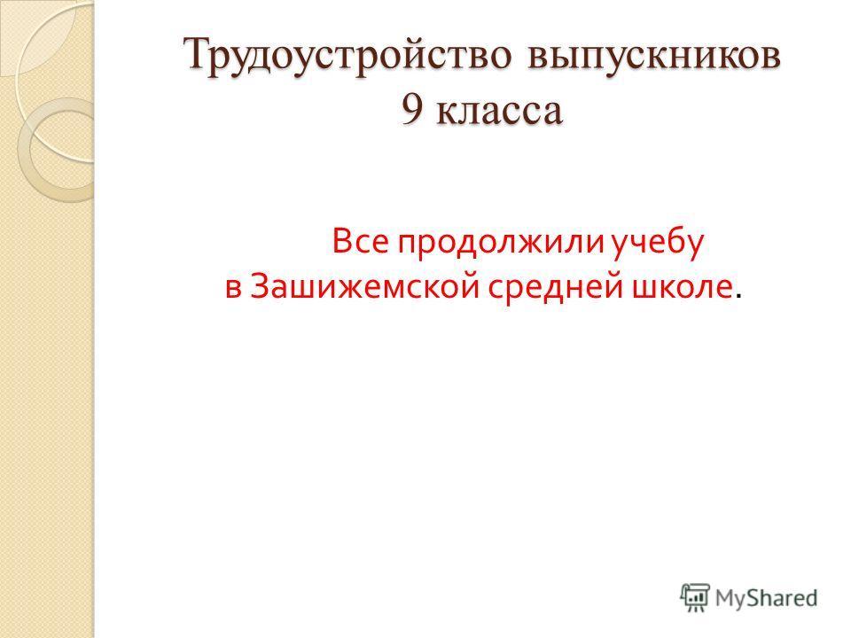 Трудоустройство выпускников 9 класса Все продолжили учебу в Зашижемской средней школе.