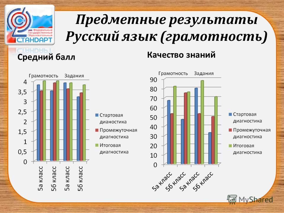 Предметные результаты Русский язык (грамотность) Средний балл Качество знаний