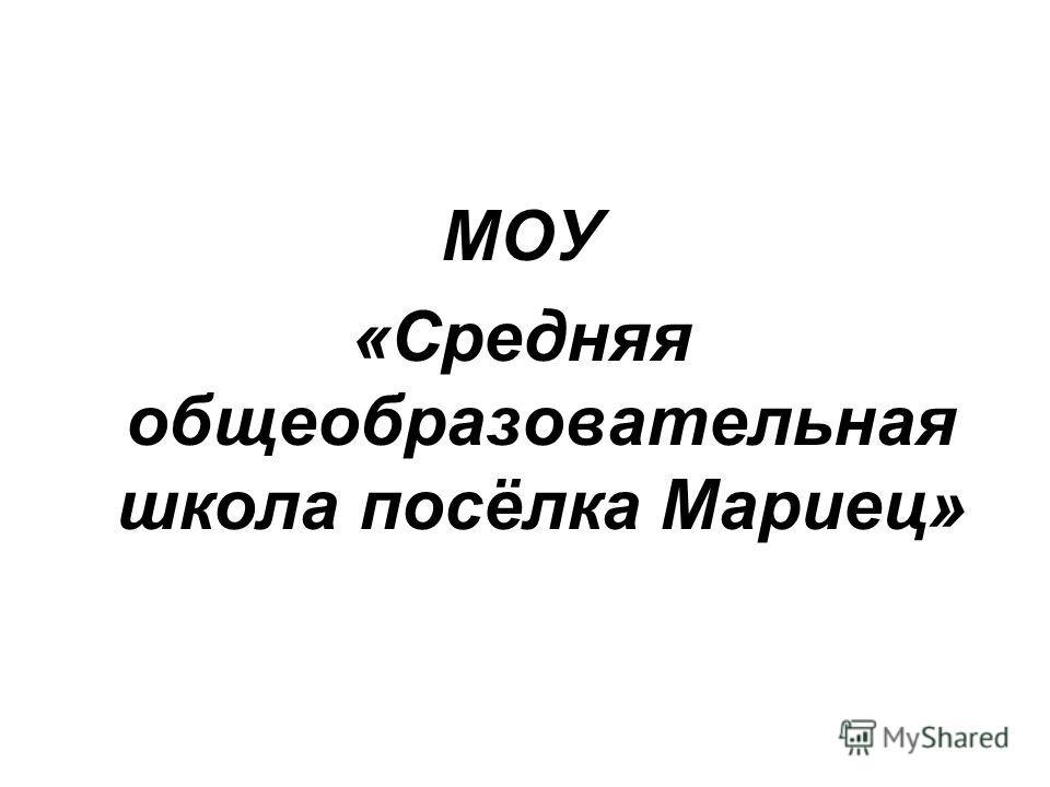 МОУ «Средняя общеобразовательная школа посёлка Мариец»