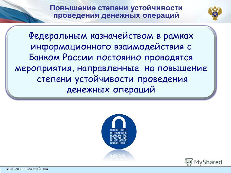 Федеральным казначейством в рамках информационного взаимодействия с Банком России постоянно проводятся мероприятия, направленные на повышение степени устойчивости проведения денежных операций Федеральным казначейством в рамках информационного взаимод