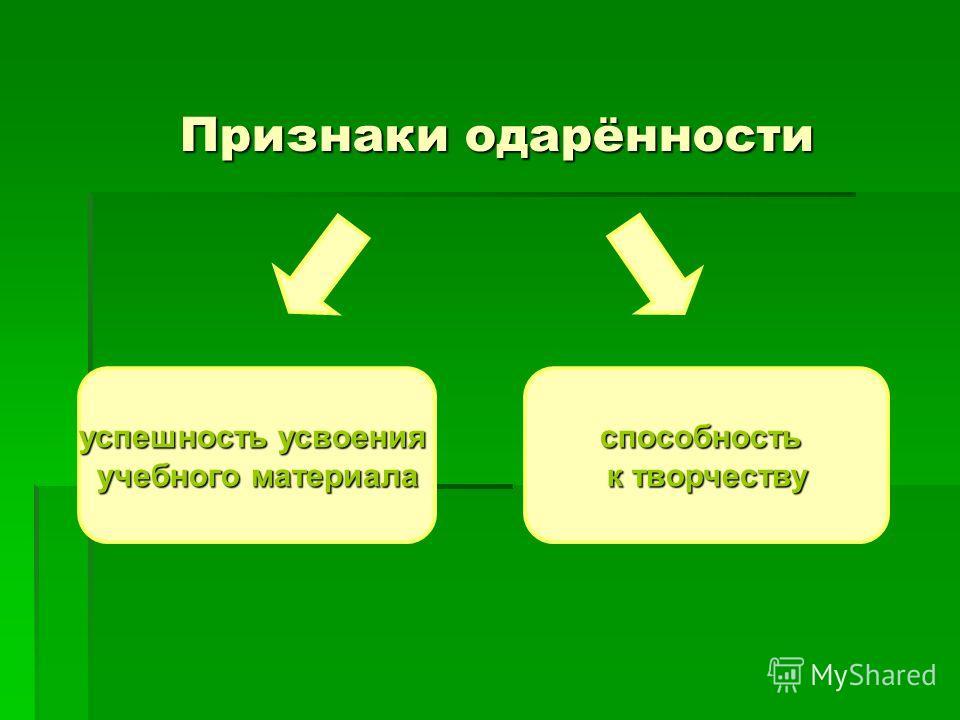 Признаки одарённости успешность усвоения учебного материала способность к творчеству