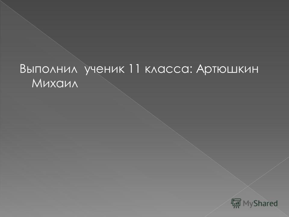 Выполнил ученик 11 класса: Артюшкин Михаил