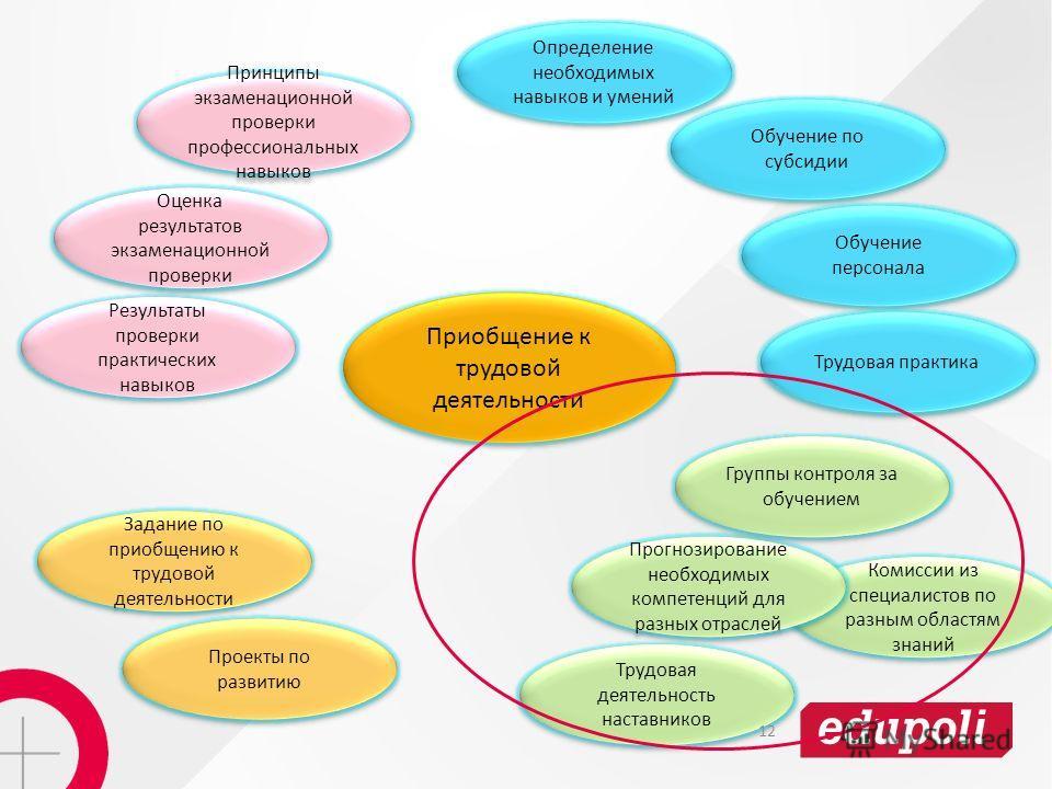 Комиссии из специалистов по разным областям знаний Определение необходимых навыков и умений Обучение по субсидии Обучение персонала Проекты по развитию Прогнозирование необходимых компетенций для разных отраслей Трудовая практика Задание по приобщени