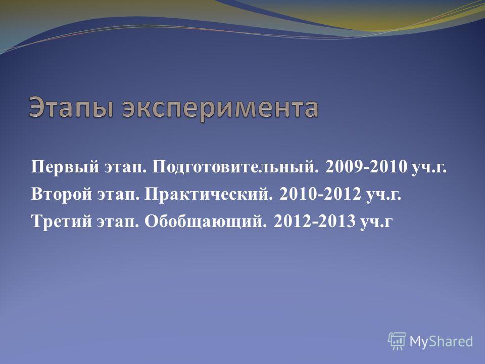 Первый этап. Подготовительный. 2009-2010 уч.г. Второй этап. Практический. 2010-2012 уч.г. Третий этап. Обобщающий. 2012-2013 уч.г