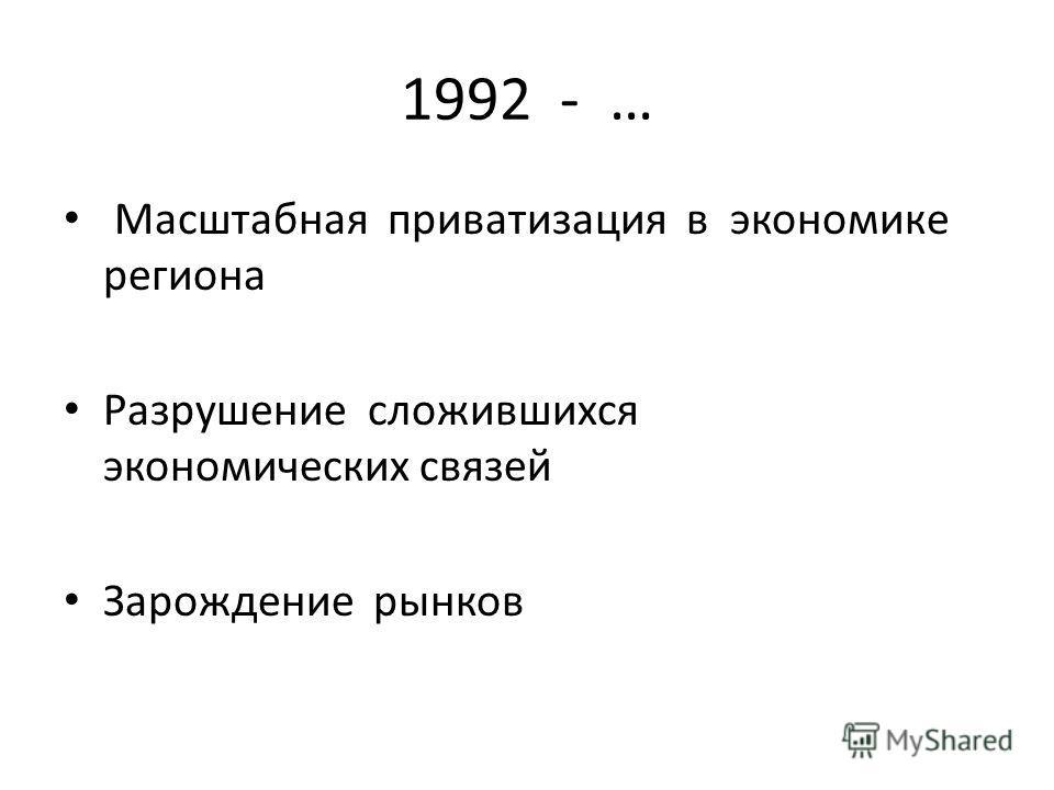 1992 - … Масштабная приватизация в экономике региона Разрушение сложившихся экономических связей Зарождение рынков