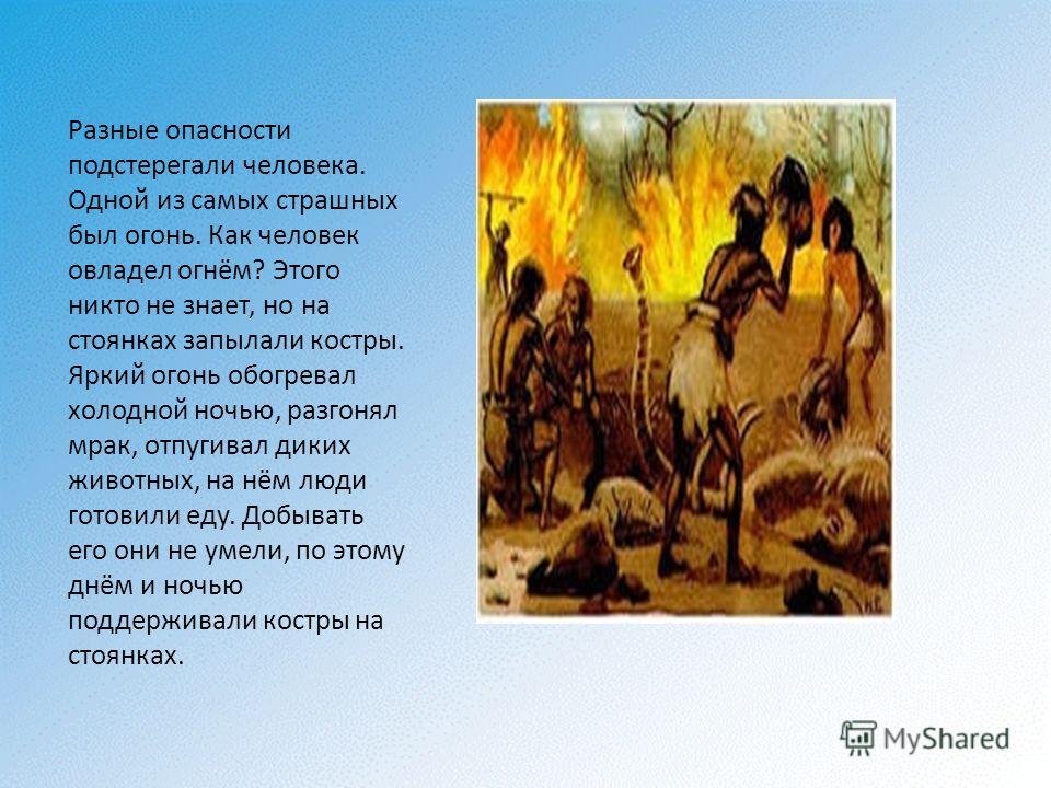 Разные опасности подстерегали человека. Одной из самых страшных был огонь. Как человек овладел огнём? Этого никто не знает, но на стоянках запылали костры. Яркий огонь обогревал холодной ночью, разгонял мрак, отпугивал диких животных, на нём люди гот