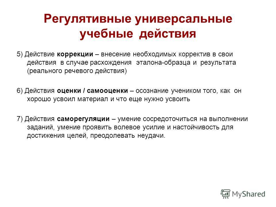 Регулятивные универсальные учебные действия 5) Действие коррекции – внесение необходимых корректив в свои действия в случае расхождения эталона-образца и результата (реального речевого действия) 6) Действия оценки / самооценки – осознание учеником то