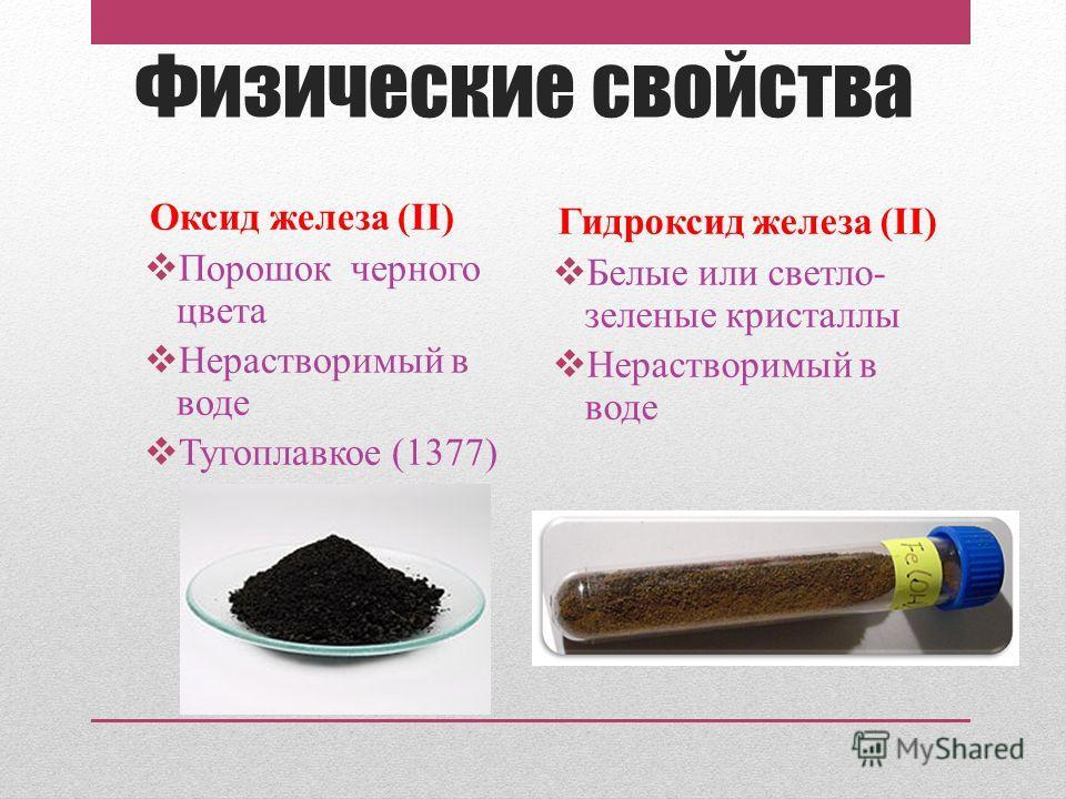 Физические свойства Оксид железа (II) Порошок черного цвета Нерастворимый в воде Тугоплавкое (1377) Гидроксид железа (II) Белые или светло- зеленые кристаллы Нерастворимый в воде