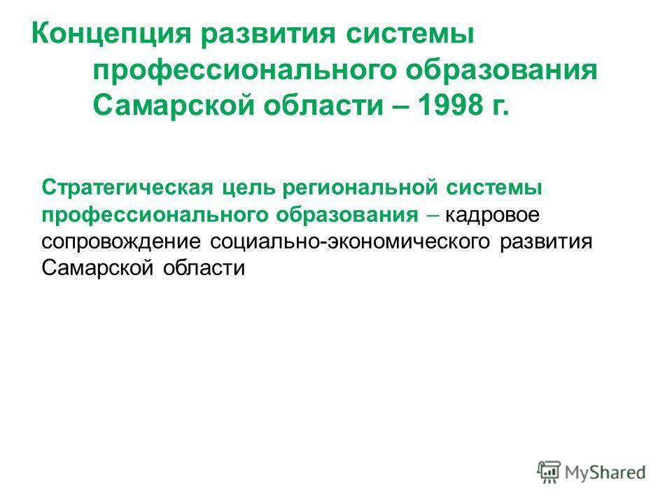 Концепция развития системы профессионального образования Самарской области – 1998 г. Стратегическая цель региональной системы профессионального образования – кадровое сопровождение социально-экономического развития Самарской области