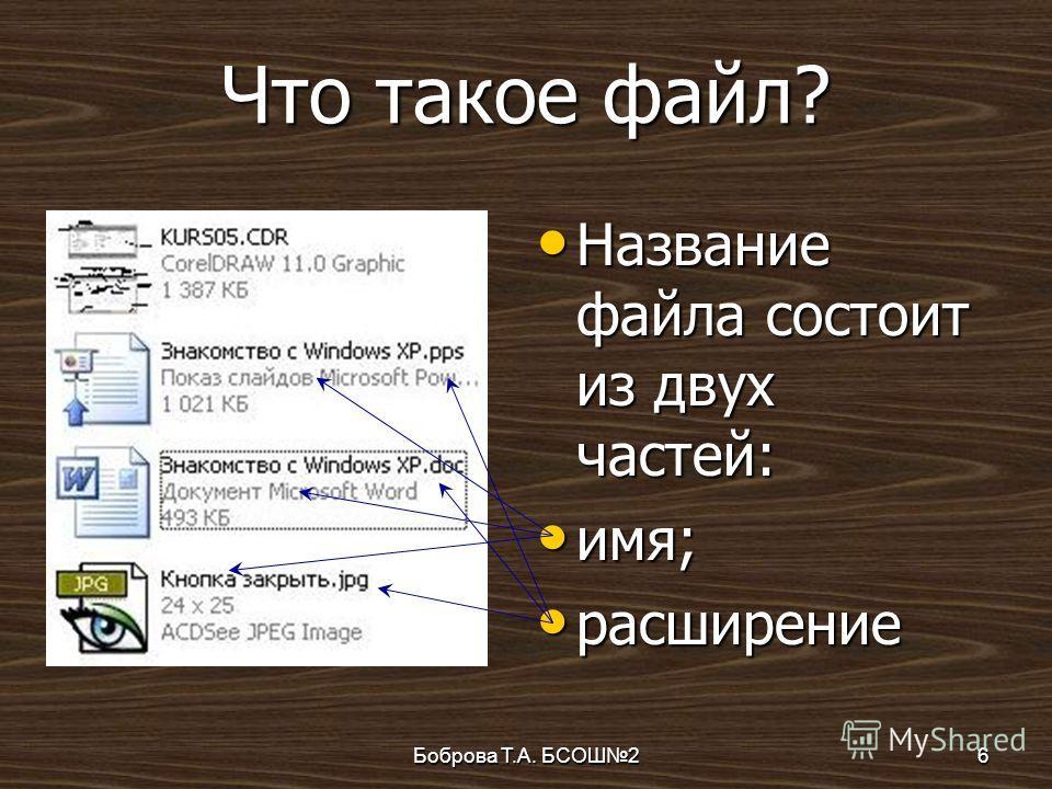 Боброва Т.А. БСОШ26 Что такое файл? Название файла состоит из двух частей: Название файла состоит из двух частей: имя; имя; расширение расширение