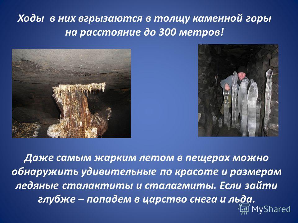 Ходы в них вгрызаются в толщу каменной горы на расстояние до 300 метров! Даже самым жарким летом в пещерах можно обнаружить удивительные по красоте и размерам ледяные сталактиты и сталагмиты. Если зайти глубже – попадем в царство снега и льда.
