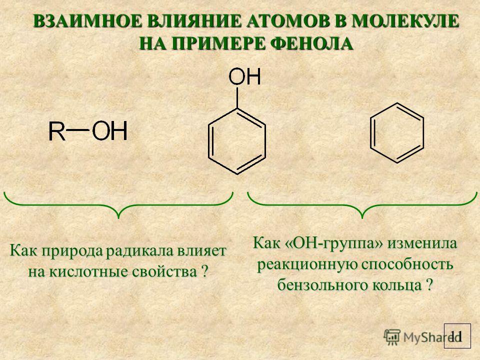 11 ВЗАИМНОЕ ВЛИЯНИЕ АТОМОВ В МОЛЕКУЛЕ НА ПРИМЕРЕ ФЕНОЛА Как природа радикала влияет на кислотные свойства ? Как «ОН-группа» изменила реакционную способность бензольного кольца ?