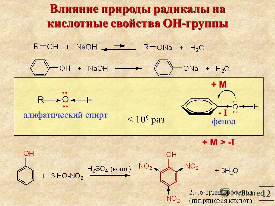 12 Влияние природы радикалы на кислотные свойства ОН-группы фенол алифатический спирт < 10 6 раз + М+ М+ М+ М - I- I- I- I + М > - I