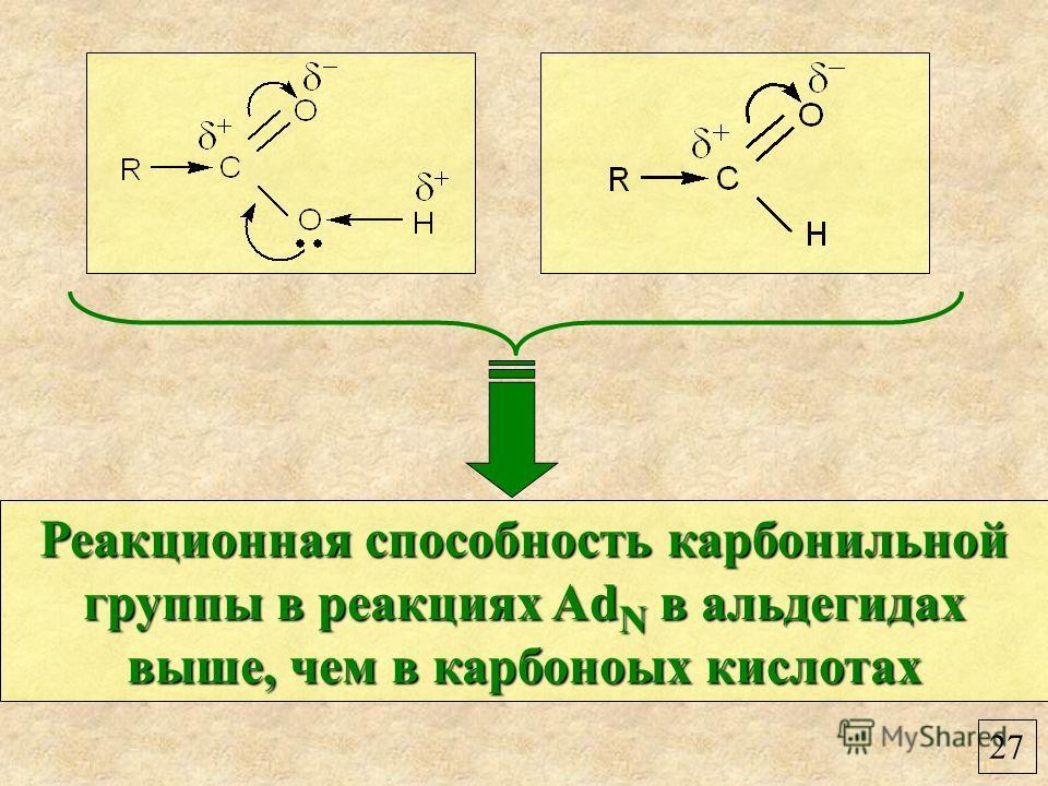 27 Реакционная способность карбонильной группы в реакциях Ad N в альдегидах выше, чем в карбоноых кислотах