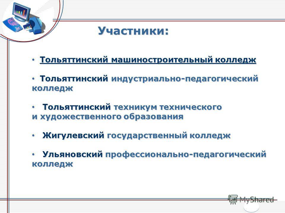 Участники: Тольяттинский машиностроительный колледж Тольяттинский машиностроительный колледж Тольяттинский индустриально-педагогический колледж Тольяттинский индустриально-педагогический колледж Тольяттинский техникум технического и художественного о