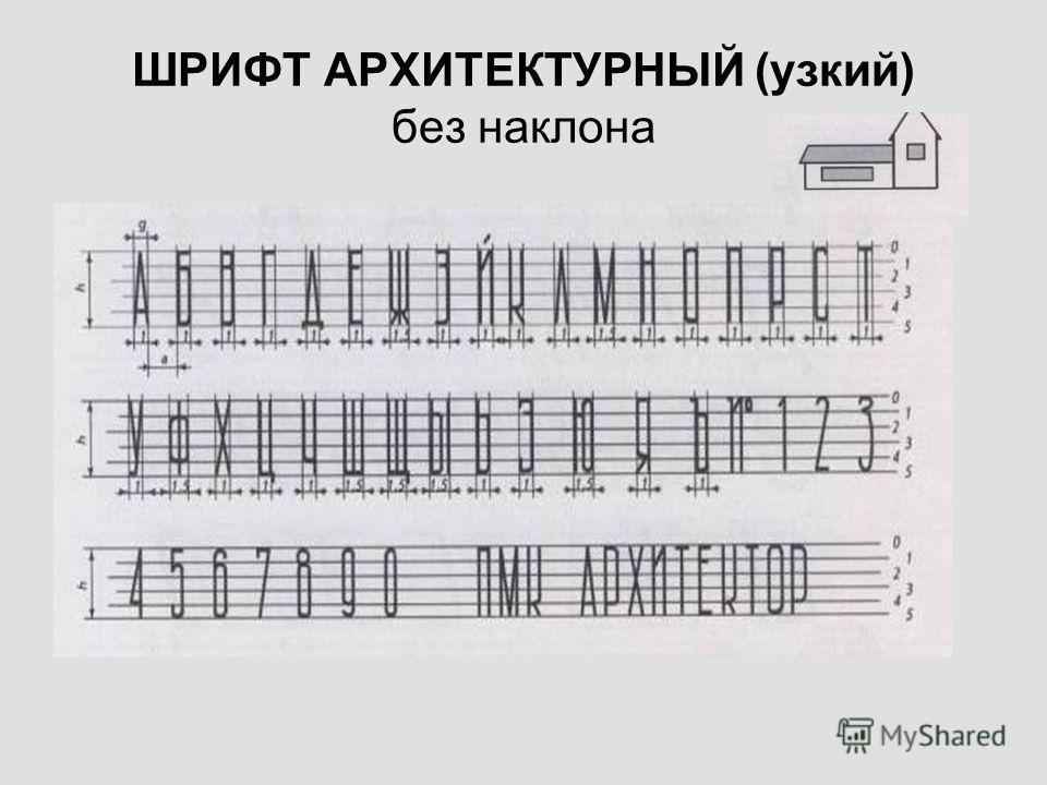 ШРИФТ АРХИТЕКТУРНЫЙ (узкий) без наклона