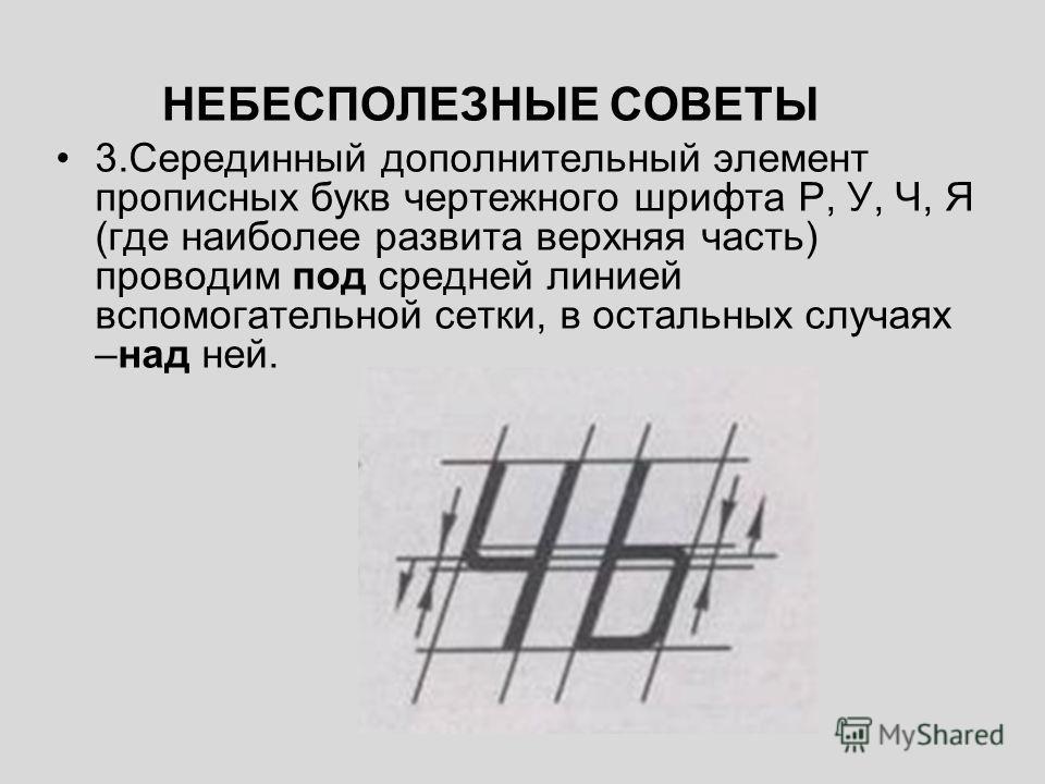 НЕБЕСПОЛЕЗНЫЕ СОВЕТЫ 3.Серединный дополнительный элемент прописных букв чертежного шрифта Р, У, Ч, Я (где наиболее развита верхняя часть) проводим под средней линией вспомогательной сетки, в остальных случаях –над ней.