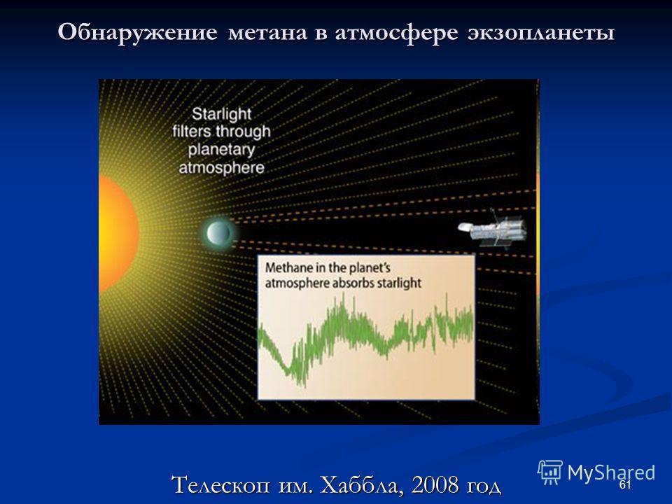 61 Обнаружение метана в атмосфере экзопланеты Телескоп им. Хаббла, 2008 год