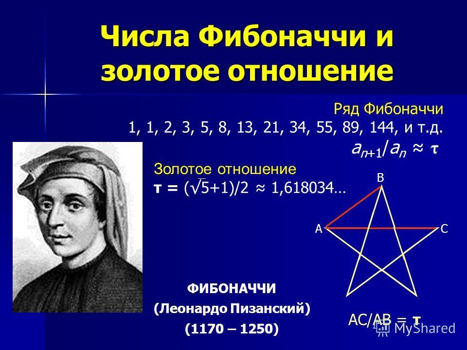 Числа Фибоначчи и золотое отношение Золотое отношение τ = (5+1)/2 1,618034… Ряд Фибоначчи 1, 1, 2, 3, 5, 8, 13, 21, 34, 55, 89, 144, и т.д. a n+1 /a n τ А В С AC/AB = τ ФИБОНАЧЧИ (Леонардо Пизанский) (1170 – 1250)
