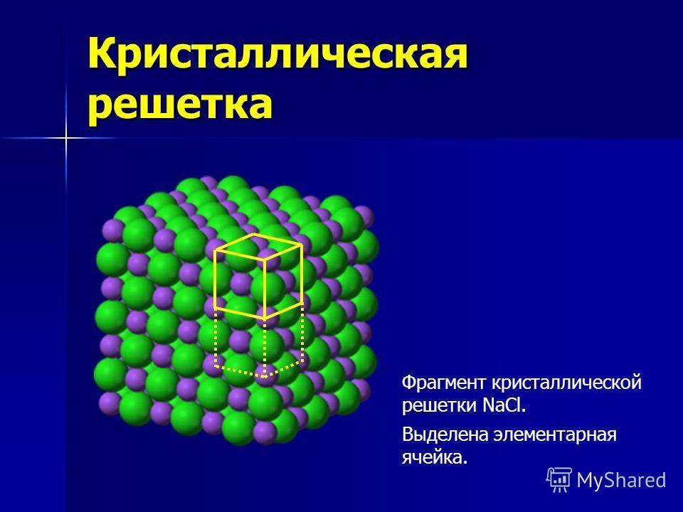 Кристаллическая решетка Фрагмент кристаллической решетки NaCl. Выделена элементарная ячейка.