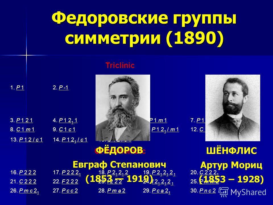 Федоровские группы симметрии (1890) Triclinic 1. P 1P 12. P -1P Monoclinic 3. P 1 2 1P 1 2 14. P 1 2 1 1P 1 2 1 5. C 1 2 1C 1 2 16. P 1 m 1P 1 m 17. P 1 c 1P 1 c 1 8. C 1 m 1C 1 m 19. C 1 c 1C 1 c 110. P 1 2 / m 1P 1 2 / m 111. P 1 2 1 / m 1P 1 2 1 /