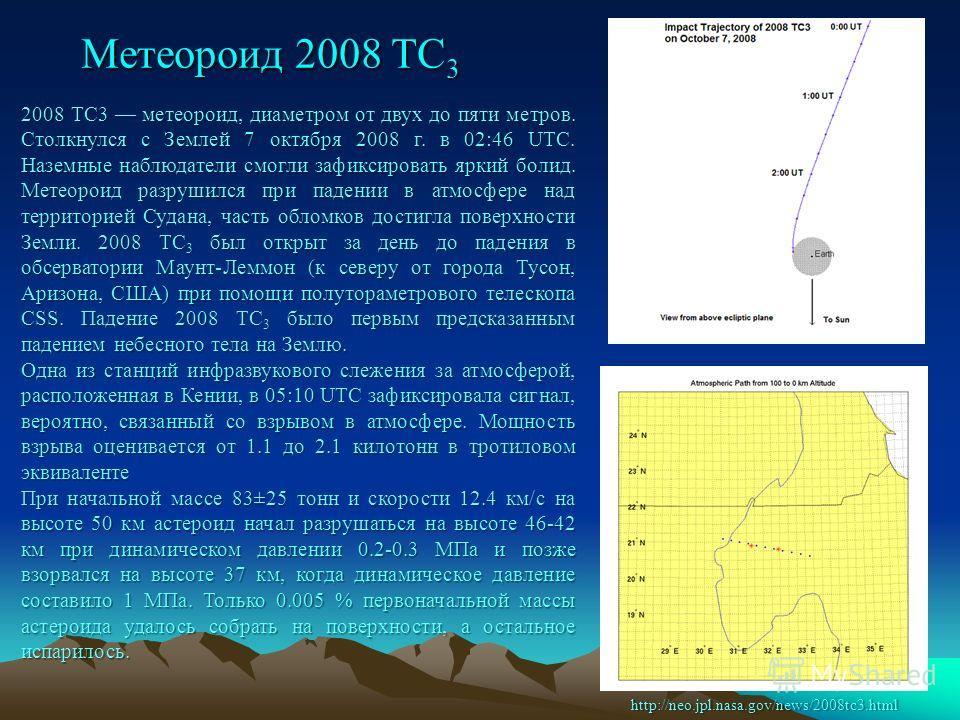 Метеороид 2008 TC 3 2008 TC3 метеороид, диаметром от двух до пяти метров. Столкнулся с Землей 7 октября 2008 г. в 02:46 UTC. Наземные наблюдатели смогли зафиксировать яркий болид. Метеороид разрушился при падении в атмосфере над территорией Судана, ч