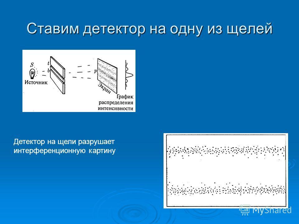 Ставим детектор на одну из щелей Детектор на щели разрушает интерференционную картину