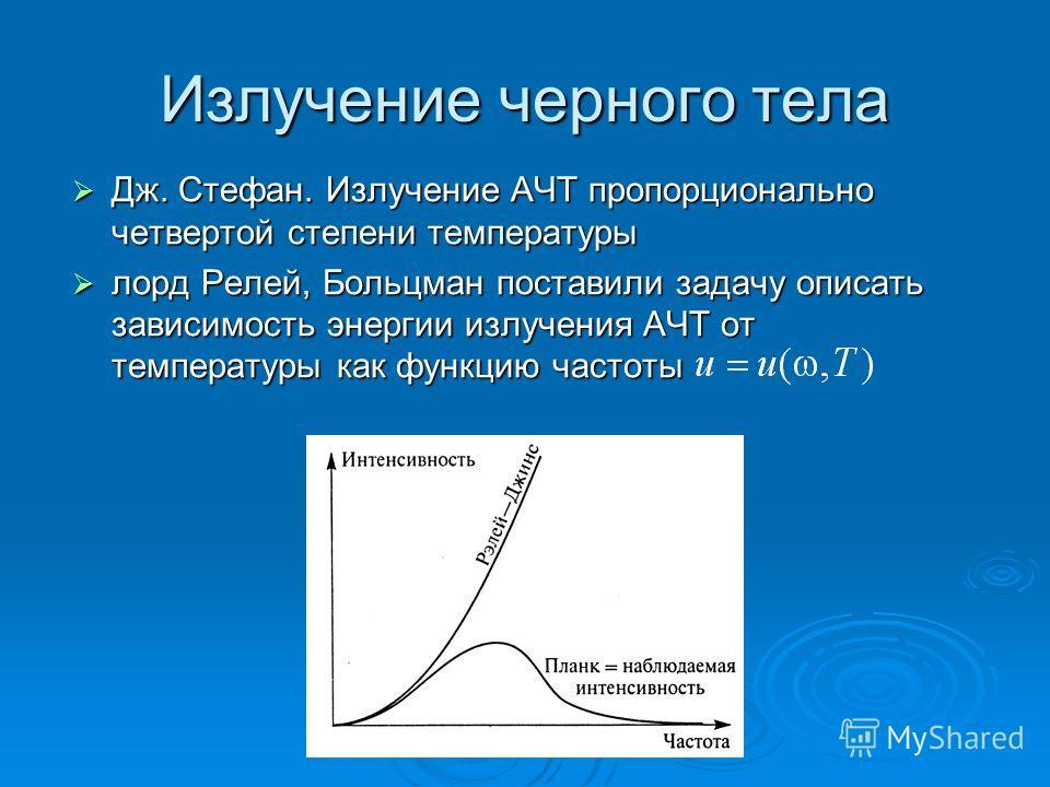 Излучение черного тела Дж. Стефан. Излучение АЧТ пропорционально четвертой степени температуры Дж. Стефан. Излучение АЧТ пропорционально четвертой степени температуры лорд Релей, Больцман поставили задачу описать зависимость энергии излучения АЧТ от