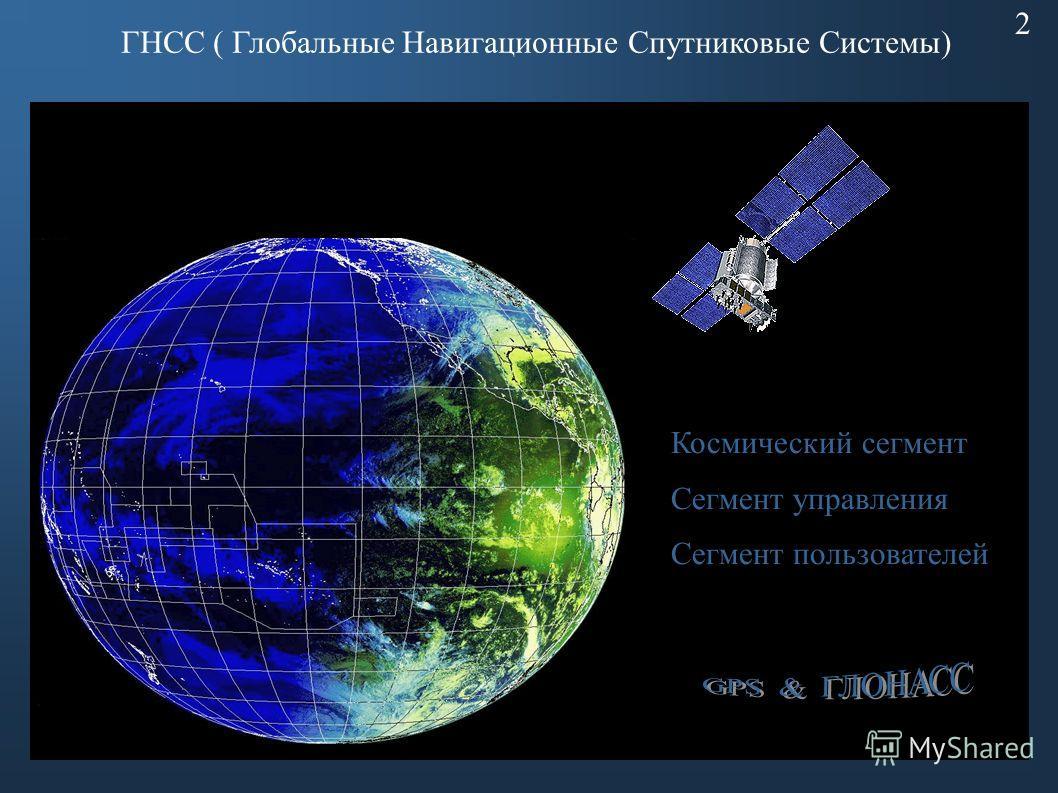 ГНСС ( Глобальные Навигационные Спутниковые Системы) 2 Космический сегмент Сегмент управления Сегмент пользователей