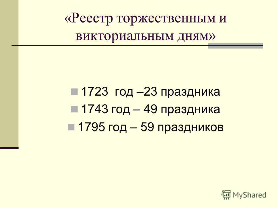 «Реестр торжественным и викториальным дням» 1723 год –23 праздника 1743 год – 49 праздника 1795 год – 59 праздников