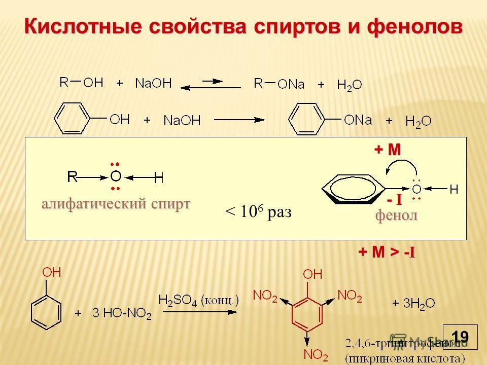 Кислотные свойства спиртов и фенолов фенол алифатический спирт < 10 6 раз + М+ М+ М+ М - I- I- I- I + М > - I 19