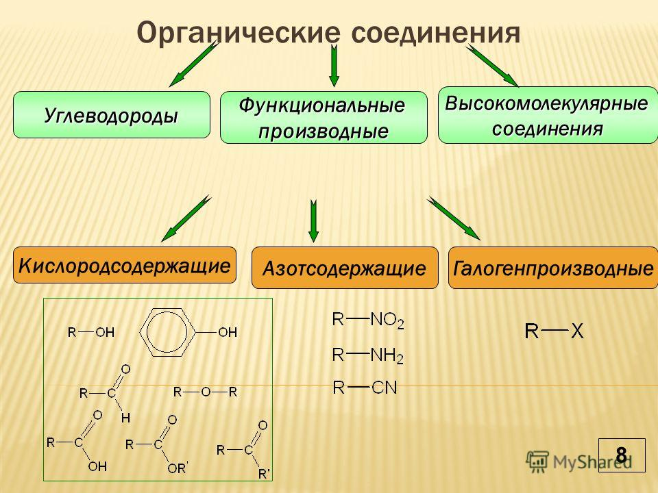Органические соединенияУглеводородыФункциональныепроизводные Высокомолекулярныесоединения Кислородсодержащие АзотсодержащиеГалогенпроизводные 8