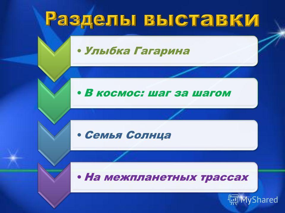 Улыбка ГагаринаВ космос: шаг за шагомСемья СолнцаНа межпланетных трассах