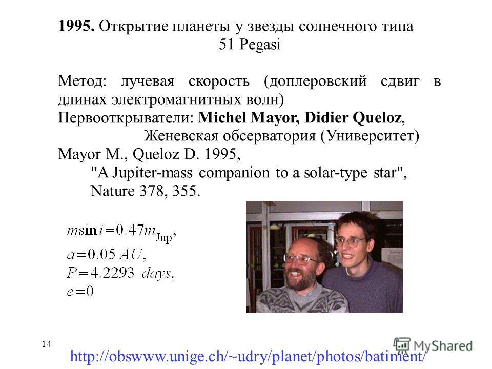 14 1995. Открытие планеты у звезды солнечного типа 51 Pegasi Метод: лучевая скорость (доплеровский сдвиг в длинах электромагнитных волн) Первооткрыватели: Michel Mayor, Didier Queloz, Женевская обсерватория (Университет) Mayor M., Queloz D. 1995,