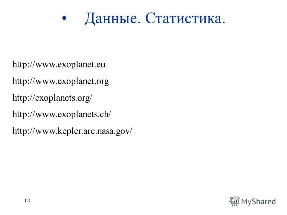 18 Данные. Статистика. http://www.exoplanet.eu http://www.exoplanet.org http://exoplanets.org/ http://www.exoplanets.ch/ http://www.kepler.arc.nasa.gov/