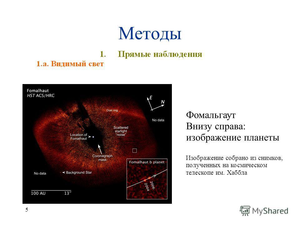 5 Фомальгаут Внизу справа: изображение планеты Изображение собрано из снимков, полученных на космическом телескопе им. Хаббла